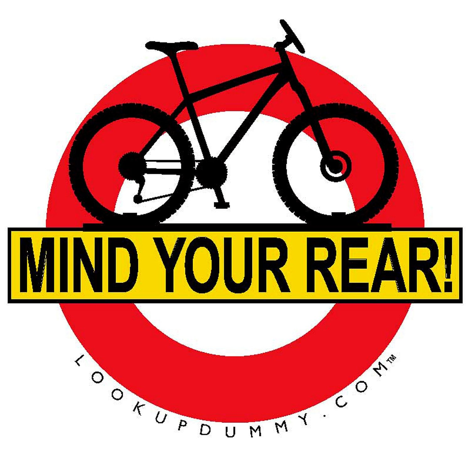 Mind Your Rear - Bike Rear Rack Windshield Reminder and Warning System - A Non-Adhesive Removable and Reusable Vinyl Window Cling - Save Your Bike Car and Rack from Damage!