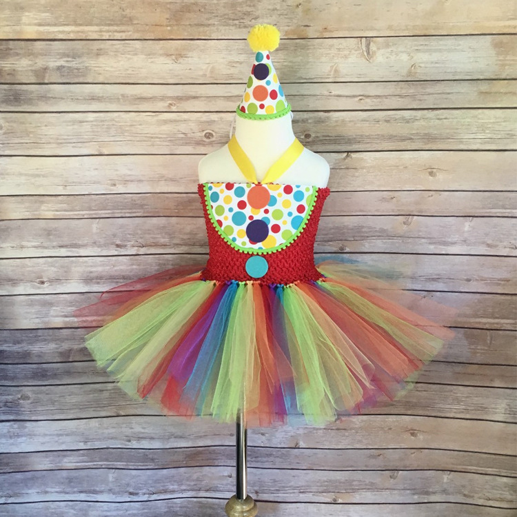 Halloween Party Mädchen Regenbogen TUTU Kleid Clown Dot-Spot ...