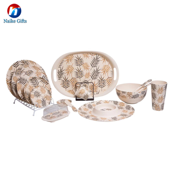Custom pattern biodegradable bamboo fiber dinner plate natual durable tableware