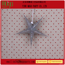 good quality and competitive price Christmas five-pointed star with laser paper hanging christmas star Hottest Christmas Ornamen