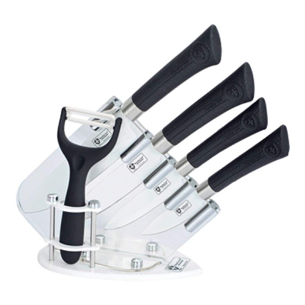 "Loyalty Line True Ceramic Coating Knife Block Set 5 Pcs - : 6"" Chef Knife, 5"" Slicer Knife, 4 Utility Knife, 3"" Pairing Knife, Stand, Bunus: Ceramic Peeler - Black"