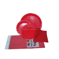 pure color disposable paper table setting ( paper plate paper napkin tablecover)