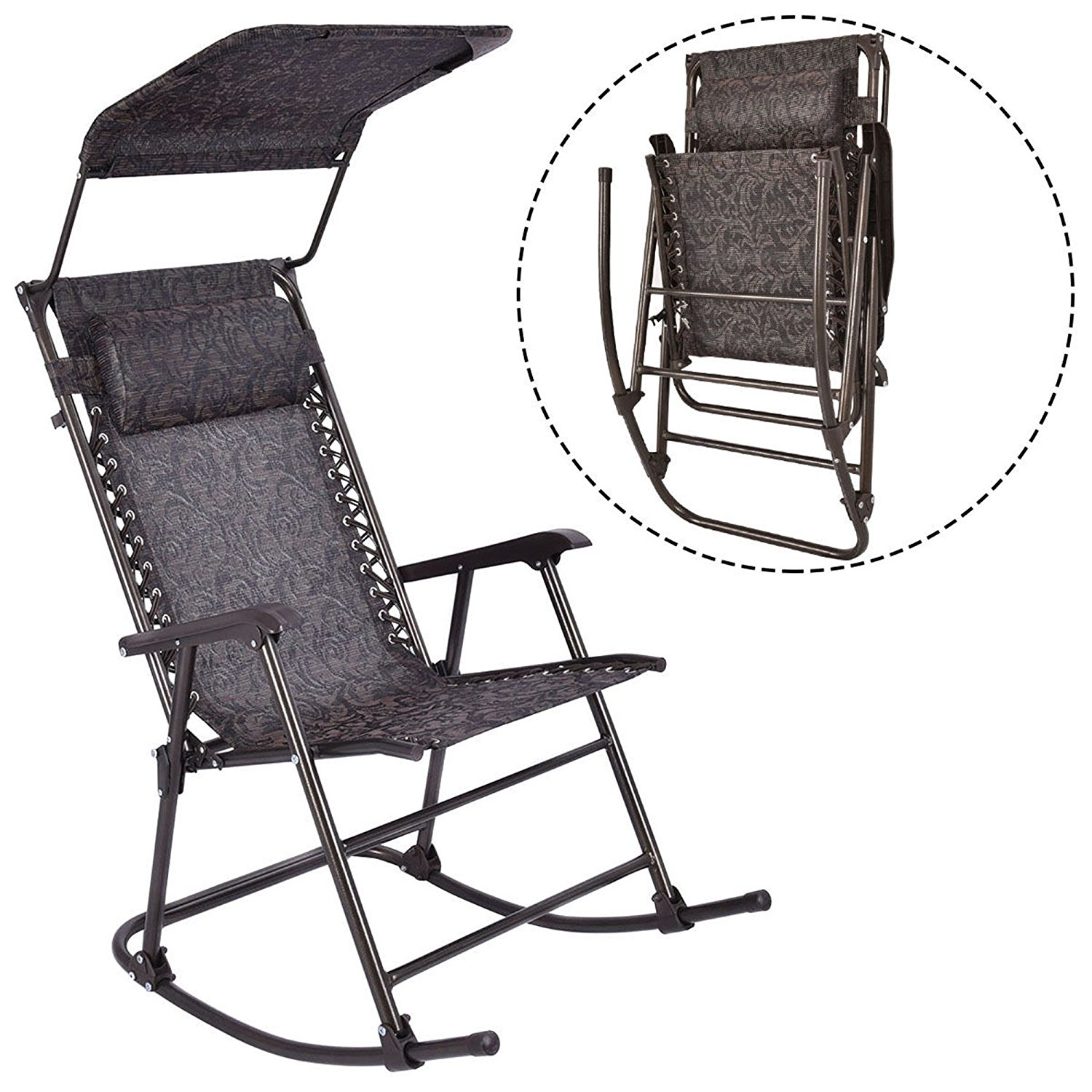 LTL Shop Folding Rocking Chair Porch Patio Indoor Rocker With Canopy U0026  Headrest