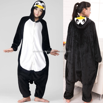 wholesale animal pajamas black penguin onesie pijamas animals adult