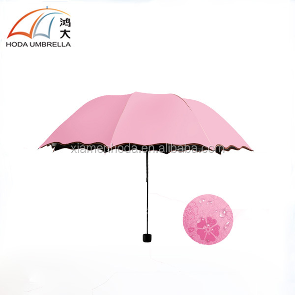 Promotional magic water bloom flower 3 folding umbrella for sun and rain