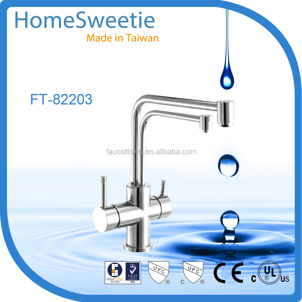 Tawain Faucet Manufacturer Dual Handle Kitchen Tap Deck Mounted Kitchen Faucet