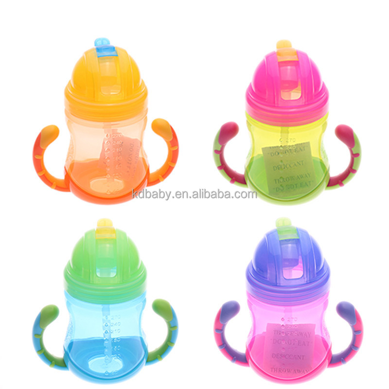 BPA Free 270ML PP Bottles Straw baby Sippy Cup with handle