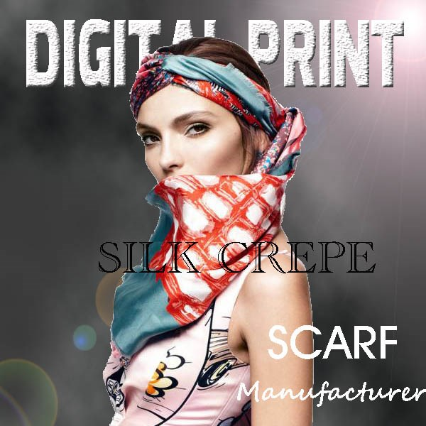 2018 latest digital print silk crepe shawl scarf -J