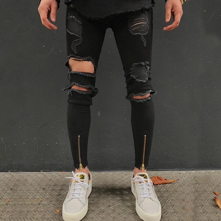 La Rodilla Rasgado Vaqueros Super Skinny Tobillo Cremallera Hombres Jeans Pantalon Elastico De La Marca De Disenador De Ropa De Moda De La Calle Slim Buy Vaqueros De Los Hombres Pantalones