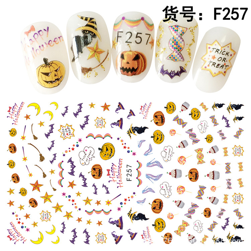 Cheap adhesive Halloween 3d nail art sticker with long size for nail tips decoration F255-260