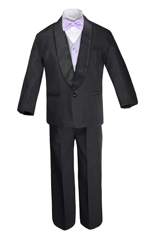 5-7pc Boys White Satin Shawl Lapel Suits Tuxedo Black Satin Bow Necktie Vest Set