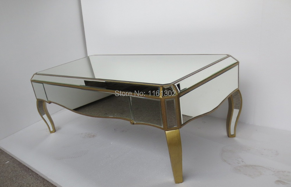 Mirrored living room furniture coffee table in glass tables from