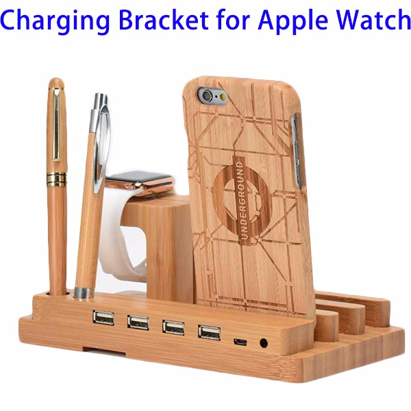 New Trending Products 4 USB Ports Bamboo Wood Charging Bracket for Apple Watch Series 2