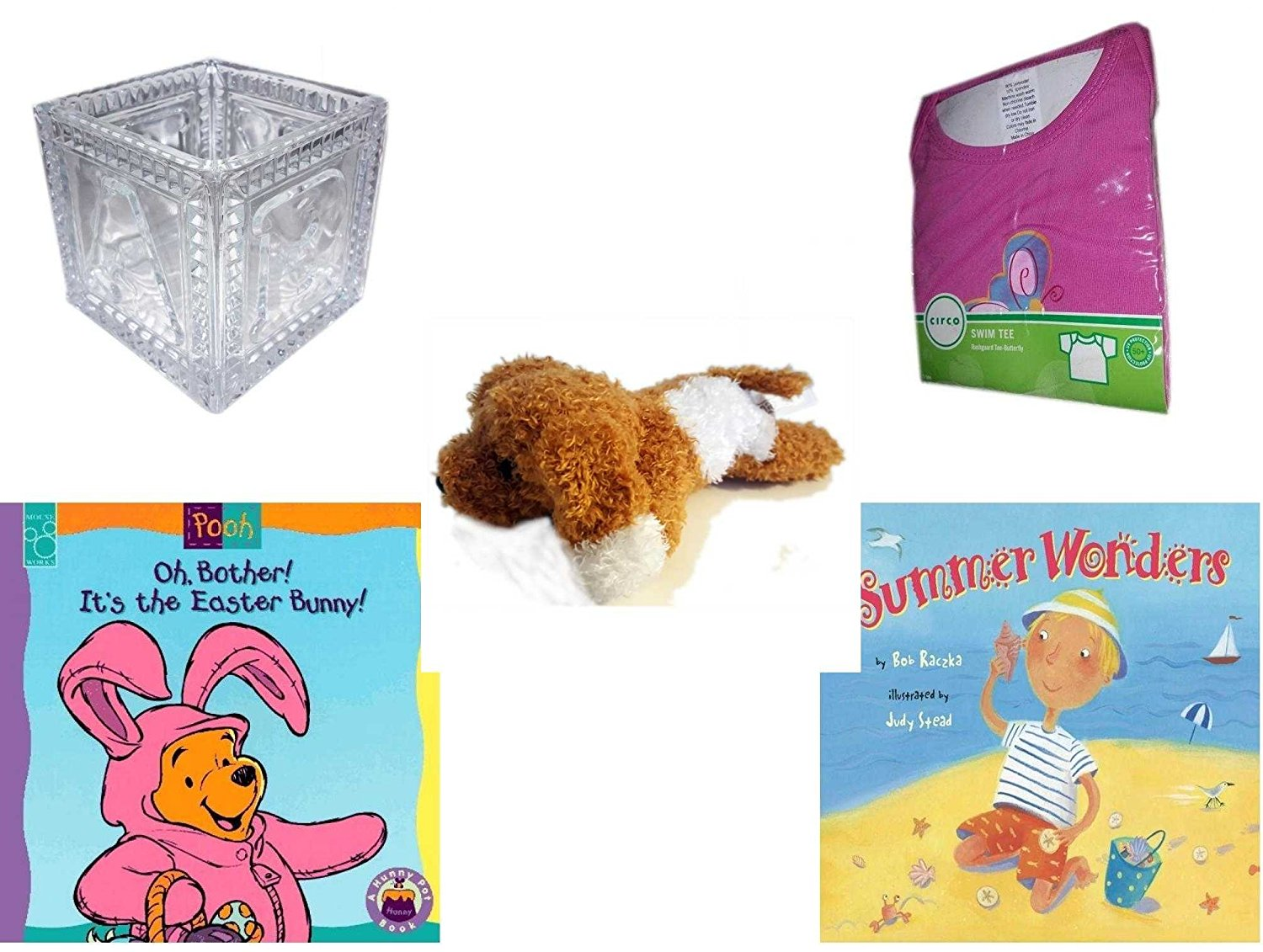 Children's Gift Bundle - Ages 0-2 [5 Piece] - B-A-B-Y Block Container Heavy Glass - Circo Infant Girls Swim Tee Pink Butterfly Size S 6 Months 13-18 lbs - Amazimals Brown & White Puppy - Oh, Bother.