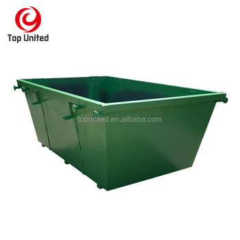 outdoor stackable steel SCRAP BIN industrial waste chain lift bins skip hopper OPEN TOP merrel skip BIN