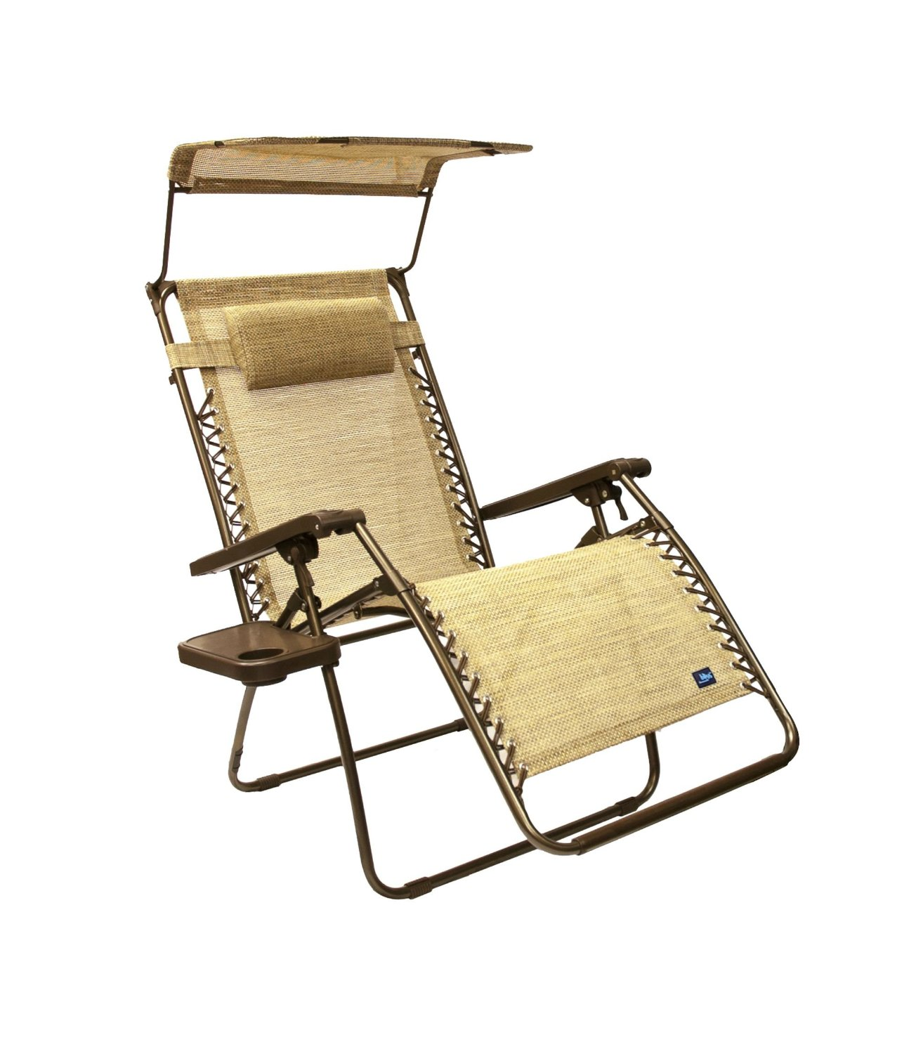 Get Quotations · Bliss Hammocks Wide Gravity Free Lounger Chair With Pillow And  Canopy And Side Tray, Sand