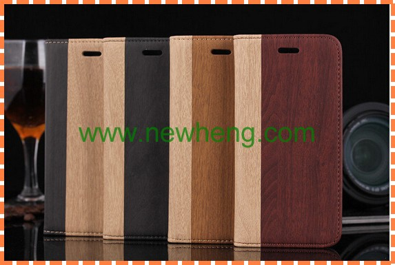 Wooden Pattern PU Leather Case For iPhone 5 5s