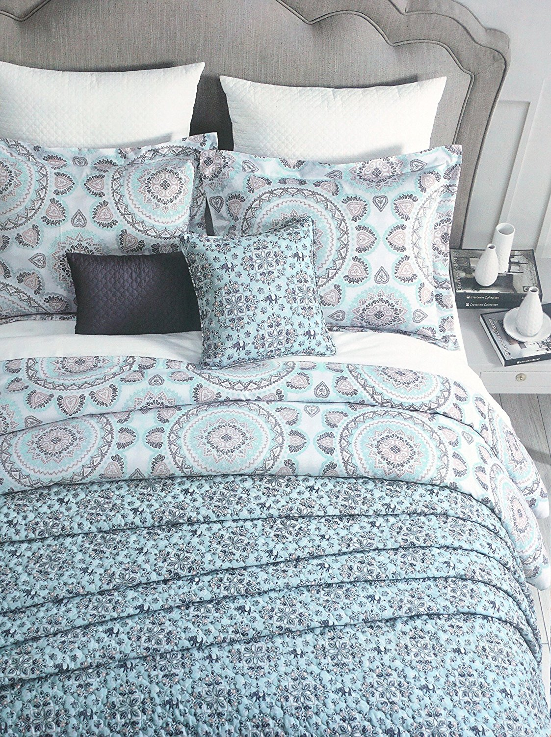 Get Quotations · Cynthia Rowley Bedding 3 Piece Duvet Cover Set Round  Medallion Hearts Pattern In Shades Of Blue