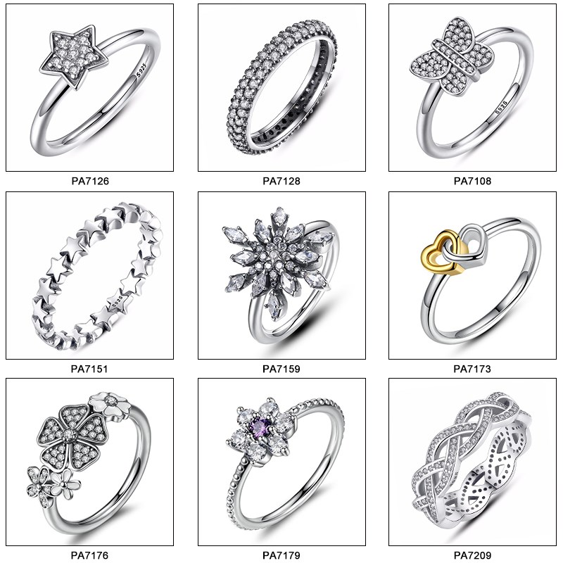 fashion jewelry 925 silver ring designs for girl