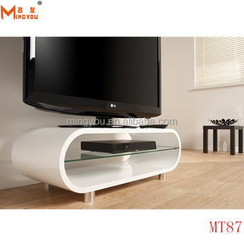 High Gloss Wood Oval Shape Tv Stand