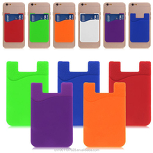 Factory price 3M Adhesive Backing Custom Cell Phone Card Holder silicone money pouch