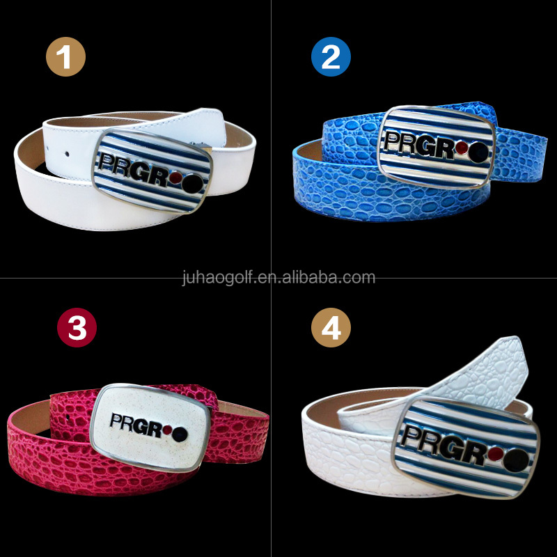 Men's head golf belt layer crocodile leather belt alloy automatic buckle