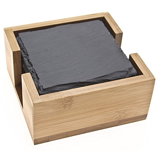 Natural Slate Coaster With Bamboo Tray