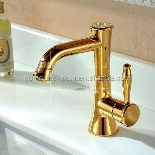 Brass gold plated deck mounted basin faucet curved sanitary