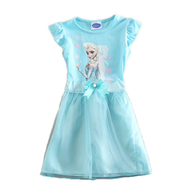 2015 Dot Snow Queen Elsa Anna Dress Vestidos Infantis Girls Clothes Kids Baby Dress Dresses For Girl Baby Girl Children Clothing