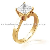 Elegant Design Solitaire Diamond Ring 14k Solid Yellow Gold Wedding Couple Ring Wholesale Designer Jewelry