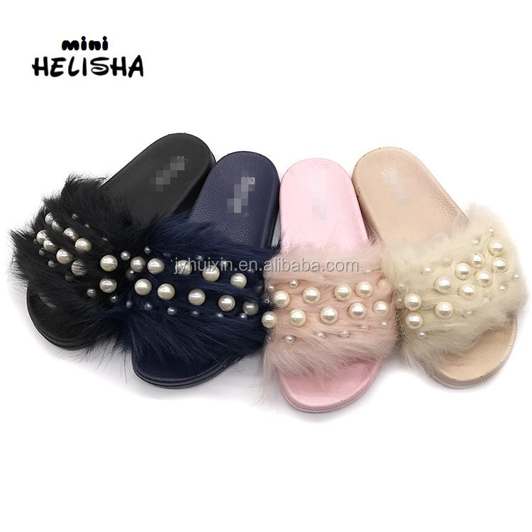 Wholesale New kind women shoes pvc shoes pcu slipper Ladies Indoor Real Fox Fur Slippers with pearl
