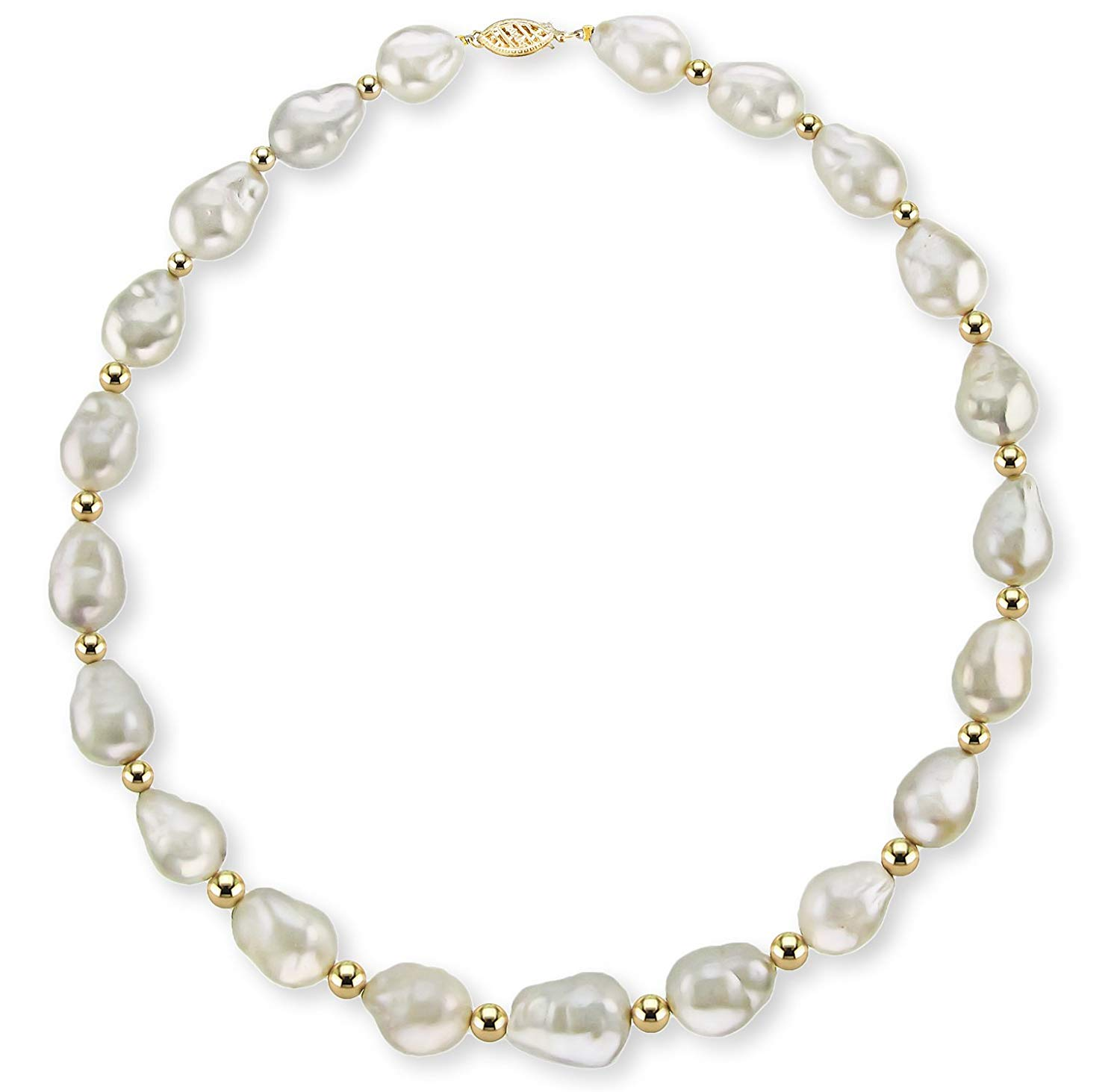 """La Regis Jewelry 14k Yellow Gold 10-12mm White Baroque Freshwater Cultured Pearl Necklace with Yellow Gold Beads, 18"""""""