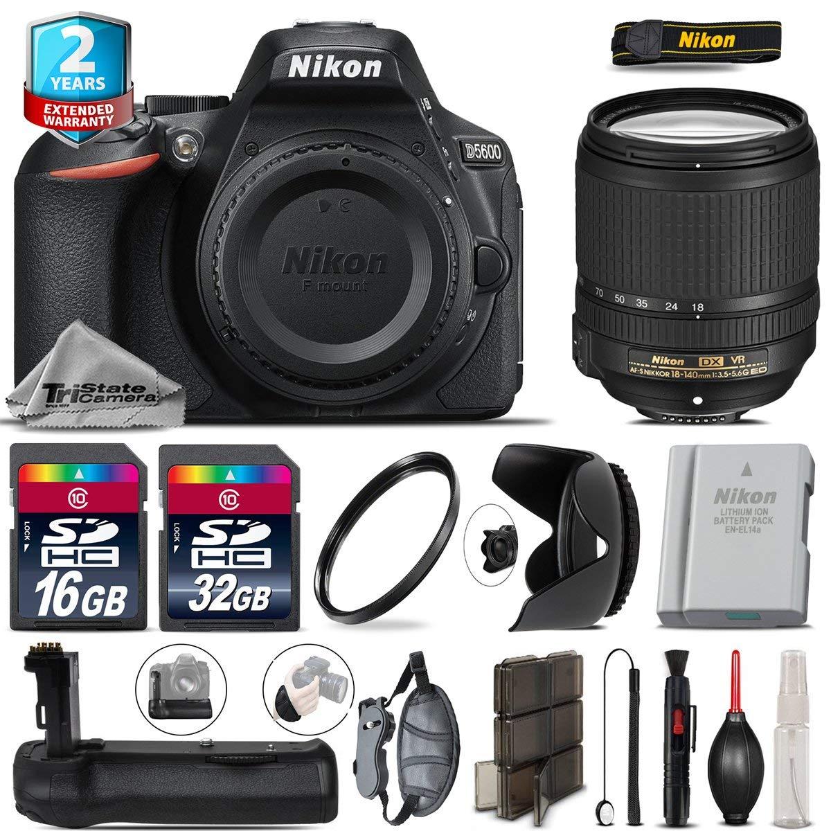 Holiday Saving Bundle for D5600 DSLR Camera + 18-140mm VR Lens + Battery Grip + 2yr Extended Warranty + 32GB Class 10 + Backup Battery + 16GB Class 10 + Wrist Strap + Tulip - International Version