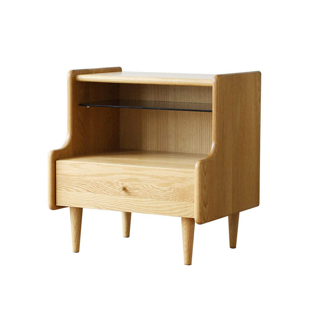 WBBZD Bedside Table, Nordic Solid Wood Simple Modern Style Bedroom Furniture Storage Log Oak Mini Bed Side Small Cabinet