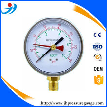 Double needls/memory pointer/red needle Pressure Gauge