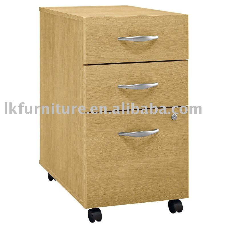Three Drawers Wooden mobile storage pedestal cabinet
