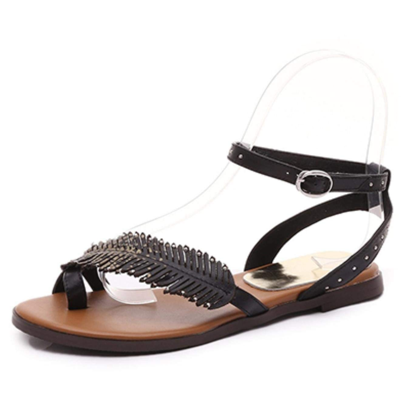 5d9b666103 Get Quotations · Summer Real Leather Sandals Leaves Round Toe Buckle Flat  Sandals College Students Sandals Women Shoes Ankle