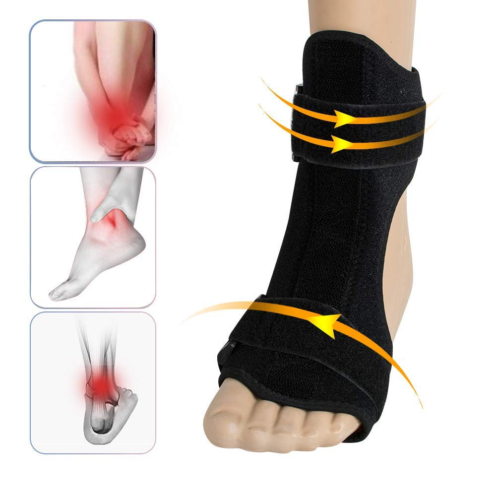 Foot Drop Brace,Fencia Breathable High Quality Foot Drop Brace Correction Ankle Corrector for Hemiplegia Plantar Fasciitis Foot Cramps for Day and Night Time Use - Black