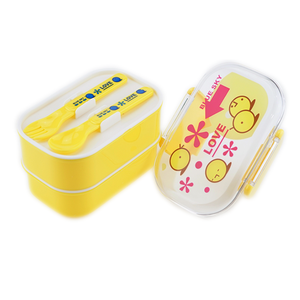 Food grade cute plastic kids bento lunch box with spoon fork