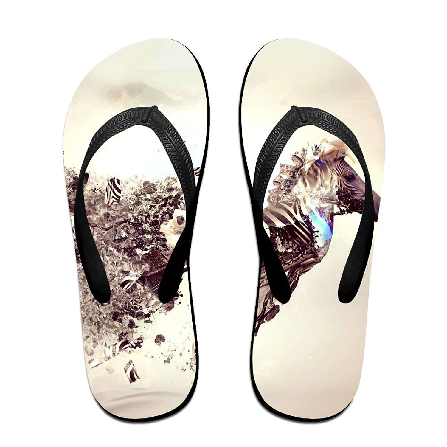 Unisex V Flip Flops Artistic Bonsai Explosion Japan Zebra Personalized Summer Slipper