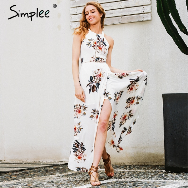 Simplee floral print long chiffon dress new style women white split summer casual dresses for beach wear
