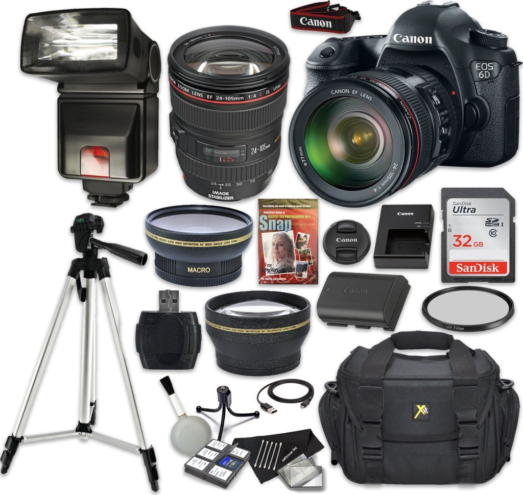 Canon EOS 6D 20.2 MP Full-Frame CMOS DSLR Camera Bundle with EF 24-105mm f/4 L IS USM Lens + SanDisk 32GB Ultra Class 10 SDHC + 9 PC Accessory Kit - International Version (No Warranty)