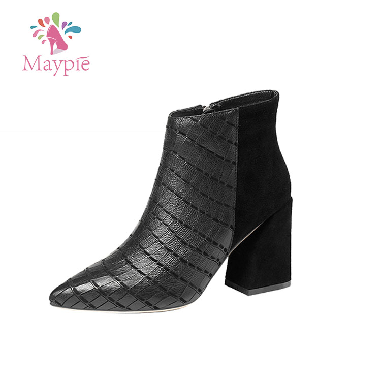 High Quality Mature Ladies Snake Skin Leather Upper with Zipper 8cm Heels Boots 2017 Women Shoes