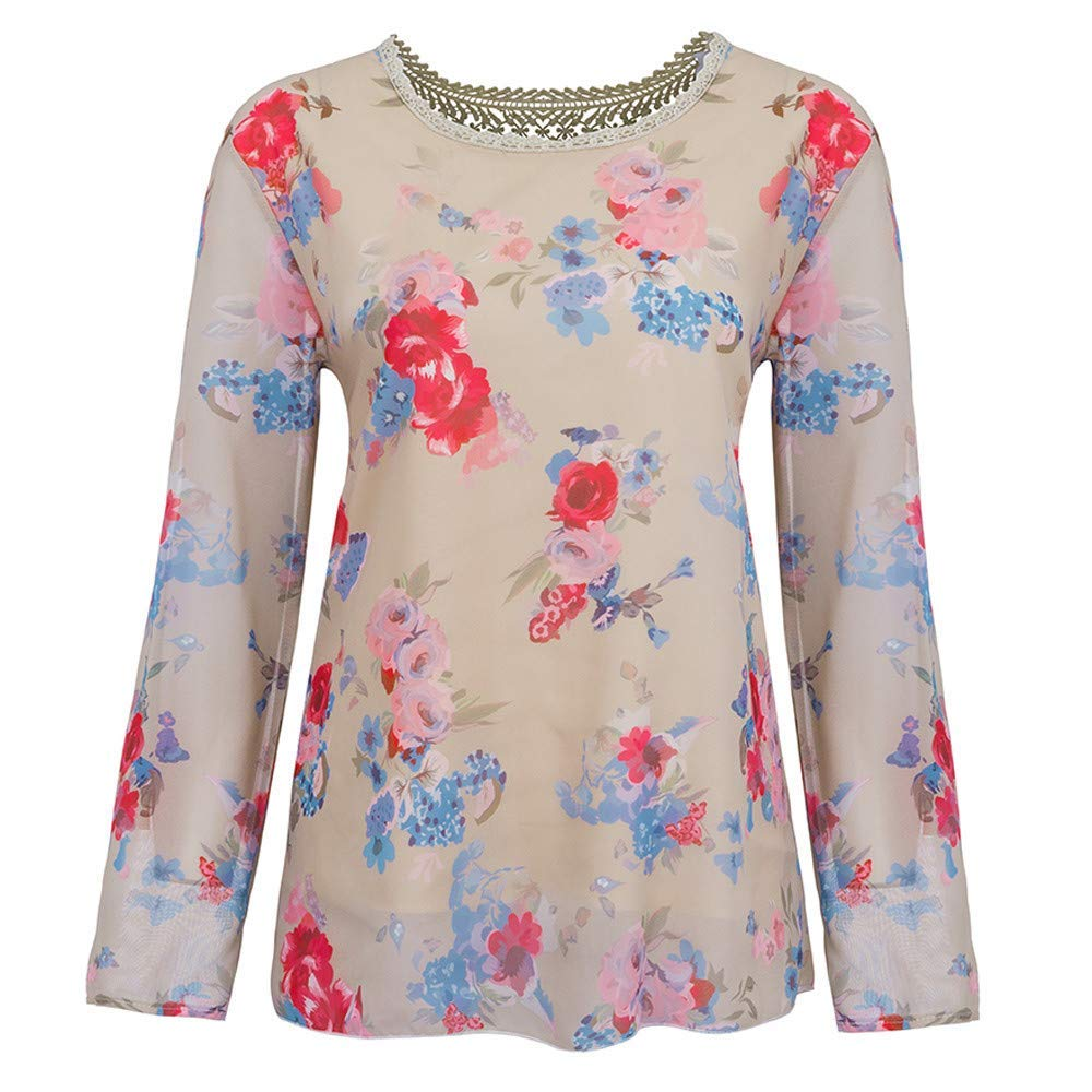 Youngh Womens Blouses Plus Size Lace Floral Print Loose Long Sleeve Fashion Casual Blouse Tops T-Shirt