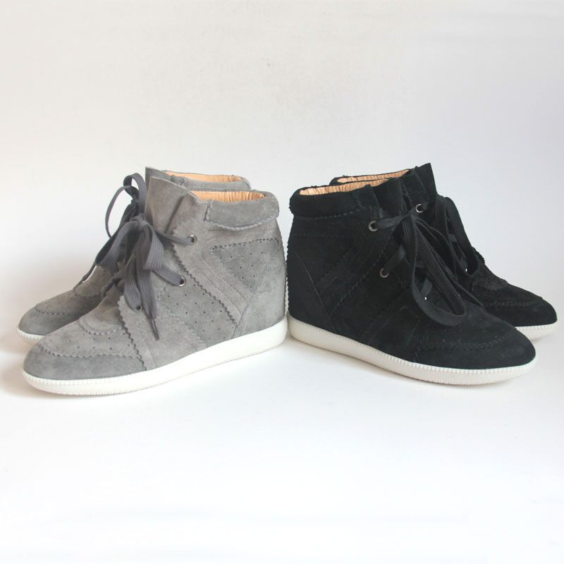 High Top Hidden Heel Lady Wedge Sneaker With Lace Up