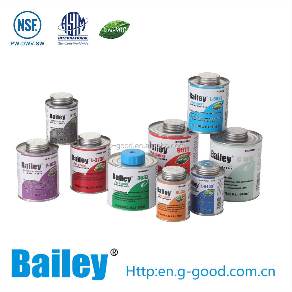 Bailey NSF pvc cpvc Solvent Cement and nsf Plastic Pipe Glue
