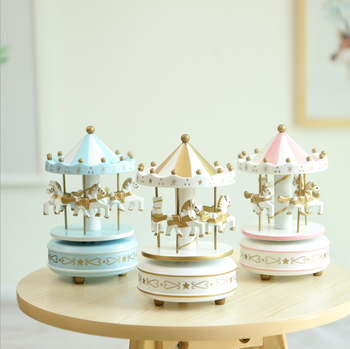 Wooden Merry Go Round Carousel Music Box For Kids Wedding Gift Toy