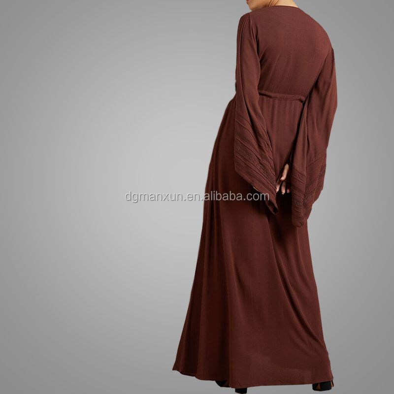 Fashion Simple Style Long Sleeve Front Open Abaya Jilbab Latest Burqa Designs Pictures Elegant Cosy Kimono Abaya