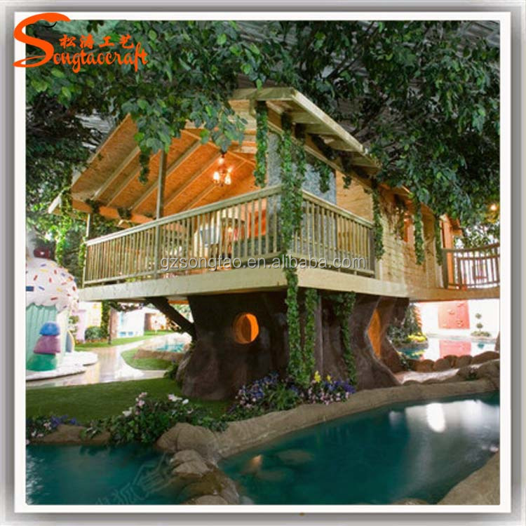 newest design China supplier large outdoor plastic leaves wooden artificial tree house for sale