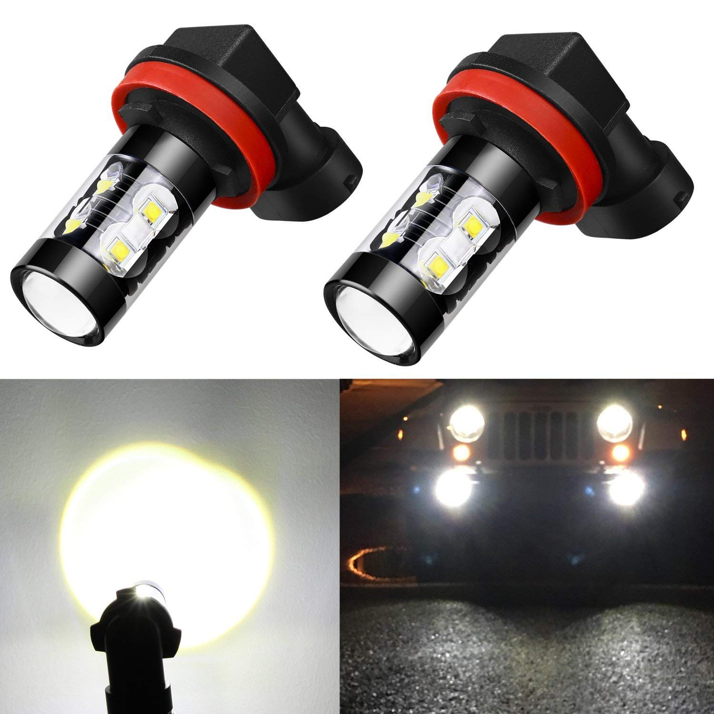 Alla Lighting Super Bright H11 H8 H16 LED Fog Light Bulbs - High Power 50W CREE 6000K White LED Fog Lights Lamp Replacement